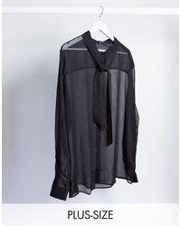ASOS Plus - Regular-fit Doorzichtig Overhemd Met Strik - Zwart