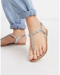 Accessorize Reno Embellished Rhinestone T-bar Flat Sandals - Metallic