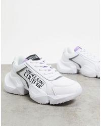 Versace Jeans Couture Белые Кроссовки На Массивной Подошве С Логотипом -белый