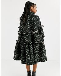 Sister Jane DREAM tiered volume midi smock dress with button front - Nero