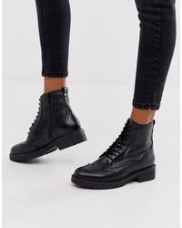 ALDO Leather Lace Up Hiker Boots - Black