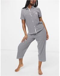 Lauren by Ralph Lauren Knit Button Through Capri Pyjama Set - Blue
