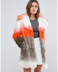 Glamorous Ombre Faux Fur Coat - Orange
