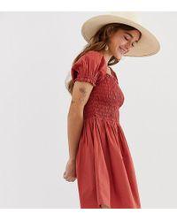 ASOS - Asos Design Petite Shirred Bodice Square Neck Mini Cotton Smock Dress - Lyst
