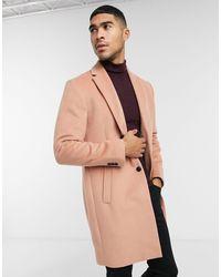 TOPMAN Faux Wool Overcoat - Pink