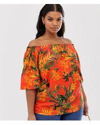 Simply Be Bardot Top In Orange Tropical Print
