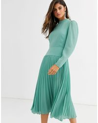 ASOS High Neck Pleated Midi Dress With Long Sleeves - Green