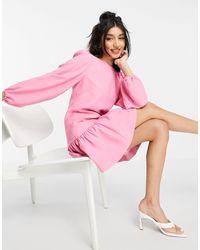 Forever New Розовое Платье Мини Со Структурированной Оборкой На Подоле И Объемными Рукавами -розовый Цвет