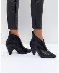 7ce1258c75b1c Kurt Geiger Kurt Geiger Denny Black Croc Effect Black Ankle Boots ...