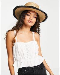 Vero Moda Straw Boater Hat - Brown