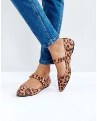 London Rebel Mary Jane Leopard Buckle Flat Shoe - Natural