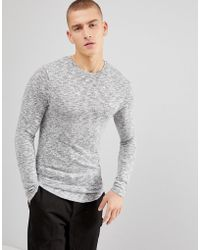 ASOS - Longline Muscle Long Sleeve T-shirt In Brushed Knitted Jersey In Grey - Lyst