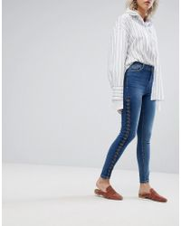 Urban Bliss - Lace Up Skinny Jean - Lyst