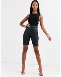 PrettyLittleThing Wet Look legging Shorts With Ruched Bum - Black