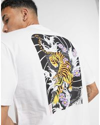 Only & Sons Oversized T-shirt With Tiger Back Print - White