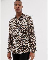ASOS Regular Fit Shirt In Leopard Print - Brown