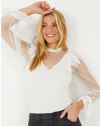 River Island Body Fit Hybrid Lace Blouse - Natural