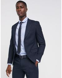 Moss Bros Moss London Skinny Suit Jacket In Navy Pinstripe - Blue