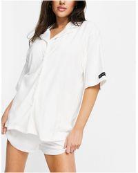 Public Desire Towelling Pyjama Shirt Co-ord - White
