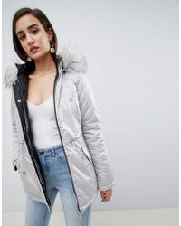 Lipsy - Reversible Parka With Faux Fur - Lyst
