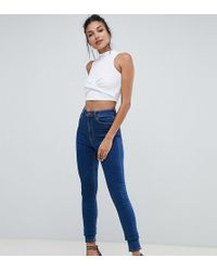 ASOS - Asos Design Tall Ridley High Waist Skinny Jeans In Flat Blue Wash - Lyst