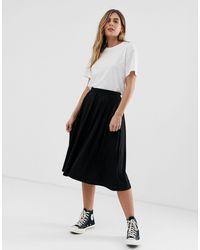 ASOS Midi Skirt With Box Pleats-black