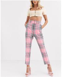 ASOS High Waist Cigarette Pants With Belt - Multicolor