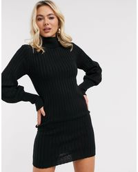 Brave Soul Pacha Roll Neck Jumper Dress With Balloon Sleeve - Black