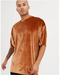 ASOS Camiseta muy larga y extragrande - Marrón