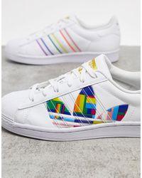 adidas Originals Superstar Pride Sneakers Aus Leder - Weiß