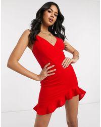AX Paris Красное Платье Мини С Запахом И Оборками -красный