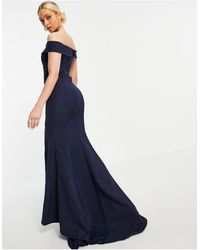 Jarlo Bardot Maxi Dress With Thigh Split - Blue