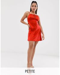 Missguided Exclusive Satin Cami Slip Dress - Red