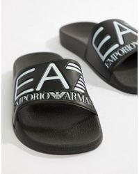 EA7 | Logo Sliders In Black | Lyst