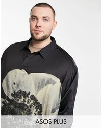 ASOS Plus Super Oversized Satin Shirt - Black