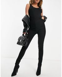 Missguided Vice Skinny Jean With Ruched Detail - Black