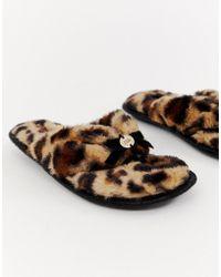 River Island Chaussons en fausse fourrure motif lopard - Multicolore