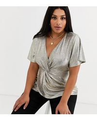 Simply Be Knot Front Blouse - Metallic