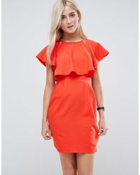 ASOS - Asos Double Layer Mini Wiggle Dress With Angel Sleeve - Lyst