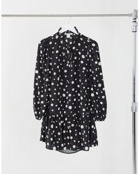 Glamorous Свободное Платье Мини В Горошек С Баской И Завязкой На Шее -черный