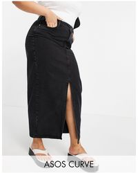ASOS ASOS DESIGN Curve - Jupe mi-longue en jean - Noir