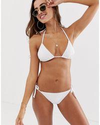 ASOS Bikinibroekje Met Gestrikte Zijkant, Broderie En Touwdetail - Wit