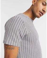 TOPMAN Waffle Stripe T-shirt - Gray