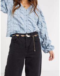 ASOS – farbiger Taillen- und Hüftgürtel mit Ketten- und Feder-Design - Mettallic