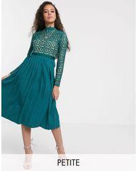 Little Mistress Midi Length 3/4 Sleeve Lace Dress - Multicolour