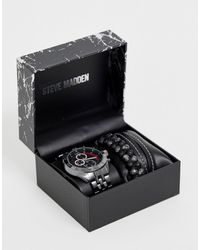 Steve Madden Mens Watch And Bracelet Gift Set - Metallic