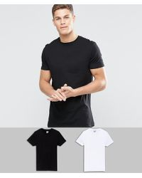 ASOS - 2 Pack Longline T-shirt In Black/white With Crew Neck Save - Lyst
