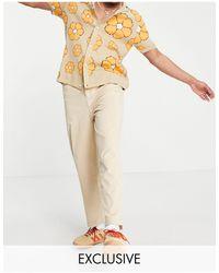 Reclaimed (vintage) Inspired - Pantaloni anni '90 larghi a coste con fondo ampio color pietra - Neutro