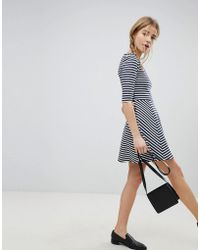 Jack Wills Darsa Drop Hem Stripe Dress - Blue
