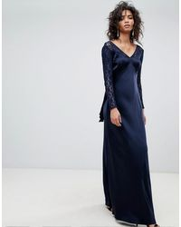 Ghost Vestido largo de manga larga con corpiño de encaje y lazo en la espalda - Azul